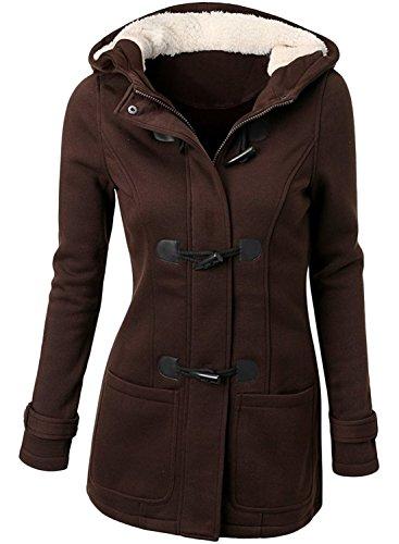 Azbro Women's Fashion Horn Button Hooded Fleece Coat Jacket