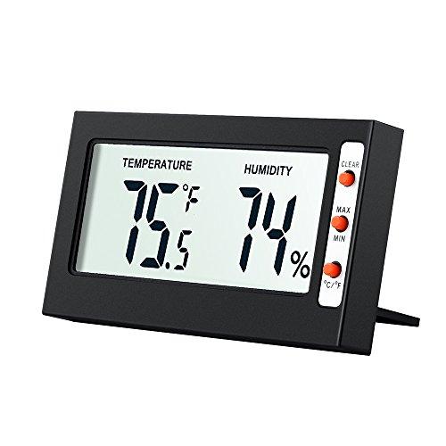 Amir Thermometer, Hygrometer, digital, Anzeige von Temperatur und Feuchtigkeit, tragbar, klein, inklusive Batterien (Schwarz)