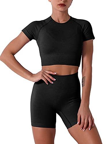 Trajes de yoga sin costuras de 2 piezas para entrenamiento de manga corta con pantalones cortos de cintura alta para correr conjuntos de ropa deportiva