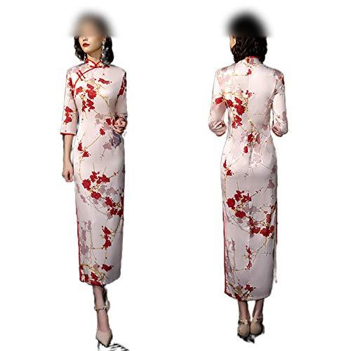 Qipao Chinesische Damen-Kleidung, Satin, Seide, Cheongsam, China-Stil, elegant, täglich, traditionelles Kleid, Mandarinenkragen, lang Gr. M, 5548