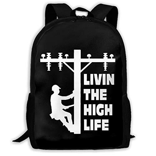 FGHJY Mochila para Adultos Unisex de Alta Capacidad The High Life Lineman Line Worker Bookbag Mochila de Viaje Mochilas Escolares Bolsa para computadora portátil