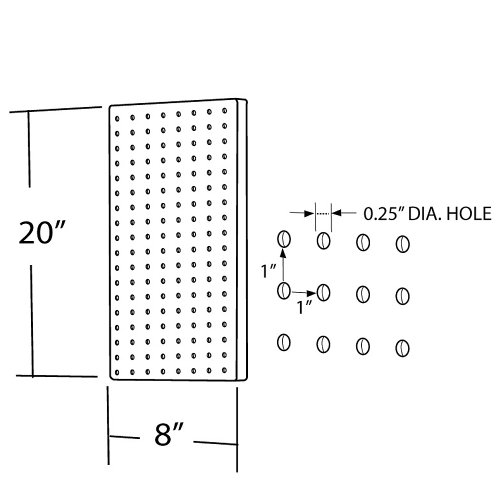Azar 770820 Pegboard 1-Sided Wall Panel, Clear Translucent Color, 2-Pack