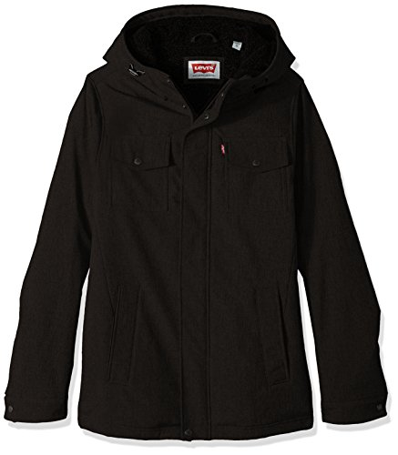 Levi's Men's Size Soft Shell Two Pocket Hooded Trucker Jacket with Full Sherpa Lining, Black, X-Large Tall