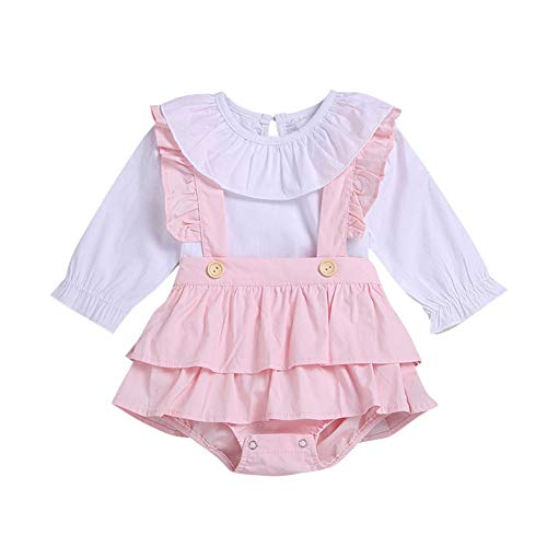 BOBORA Ropa Bebé Niñas, Camiseta de Manga Larga de Algodón con Overoles Pantalones Cortos