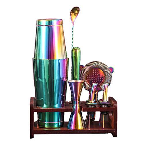 freneci 550ml+750ml Stainless Bar Cocktail Shaker Set Barware Set Shaker Set with Wooden Rack - Colorfful