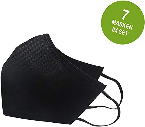 Nawemo Mund & Nasen-Behelfsmasken, schwarz, 7er Pack