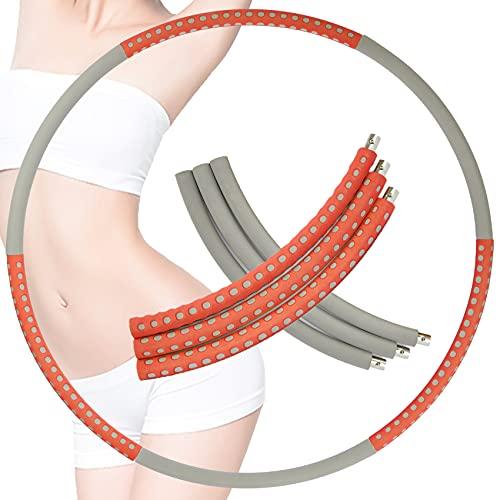 JeoPoom Fitness Hula, 92cm Hula Reifen Die Zur Gewichtsreduktion, Schaumstoff Gewichten Einstellbar, 6 Segmente Abnehmbarer, Geeignet für Fitness/Sport/Bauchformung(OrangeGray)