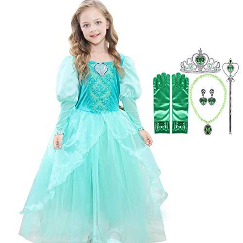 O.AMBW niña princesa vestido bella durmiente princesa aurora disfraz rosa tulle disfraz fiesta de halloween cumpleaños cosplay disfraz accesorios guantes corona corona collar pendientes edad 3-10 años