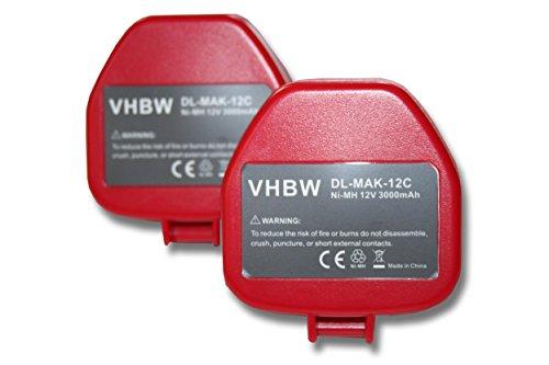 vhbw 2x baterías Ni-MH 3000mAh (12V) para herramientas 8412DWA, 8412DWG, 8412DWH, HR160D, HR160DH y Makita 1200, 1201, 1201A, 1202, 1202A.
