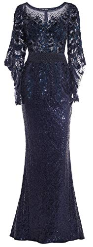Meier Women's Two Tone Sequin Prom Formal Gown with Bell Sleeves (Navy, 8) (Apparel)