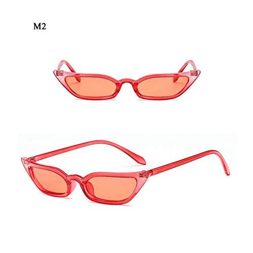 SKCLBOOS Gafas de Sol Gafas de Sol de Lentes de Gato Rojo de Las Mujeres Gafas de Sol 70S 80S 90S Alta Moda Cateyes Lentes Marco Transparente Señoras Trending Gafas estrechas