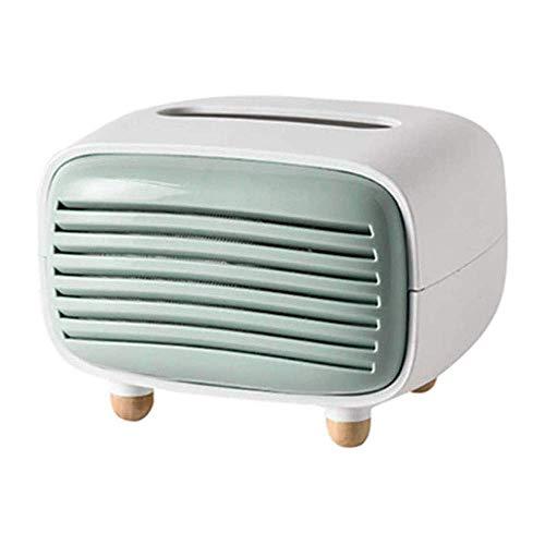 Caja de pañuelos faciales de radio vintage, organizador de servilletas, dispensador de toallas de papel, contenedor para baño, coche, oficina, decoración del hogar (azul) (color: verde) JoinBuy.R