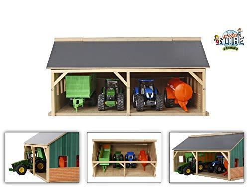 Kids Globe Scheune 1:50 (Bauernhofspielzeug aus Holz, für Traktoren und Anhänger, Größe 25,3x33,4x16,7 cm, Dach klappbar) 610047