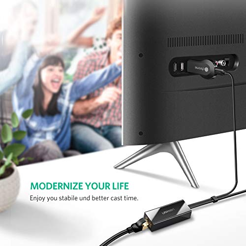UGREEN Ethernet Adapter für Chromecast und TV Stick Micro USB zu RJ45 LAN Netzwerkkarten Netzwerk Adapter mit USB 2.0 Netzkabel für Stromversorgung