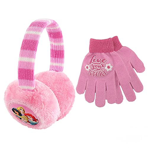 Disney Toddler Winter Earmuffs and Kids Gloves,PrincessEar Warmers, Pink, Little Girls, Ages 4-7