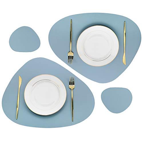 Olrla Juego de 2 manteles Individuales de Cuero de PU, aislantes térmicos Antideslizantes, manteles de Cocina Lavables, Estilo adoquín, (Azul Fresco, 2)