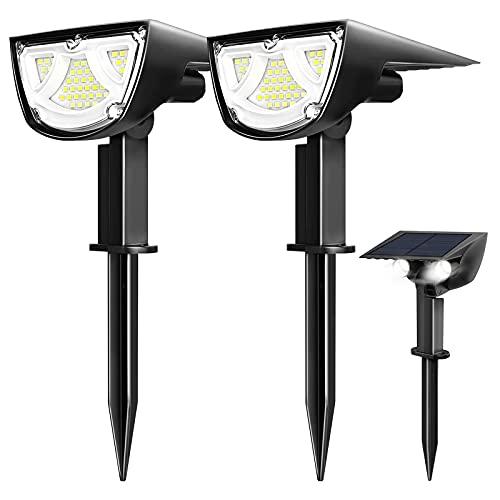 41 LED lámparas solares de jardín, foco LED de exterior impermeable IP67, luces solares de jardín, patio, caminos, piscina y camping, blanco frío (2 unidades)