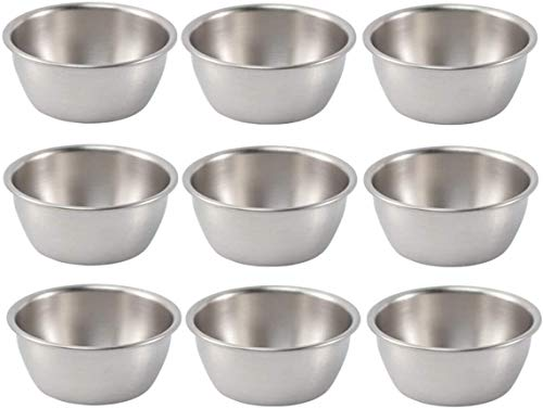 YHBM Condiment Bottles Seasoning Bowls Stainless Steel Sauce Dish Round Sushi Dipping Bowl Sauce Cups Portion Cups Condiment Tray Sauce Plate Appetizer Serving Tray for Home Kitchen 9 Pcs