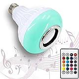 AmeriLuck LED Music Light Bulb with Built-in Bluetooth Speaker, E26/27 Base, 24 Keys Remote Control