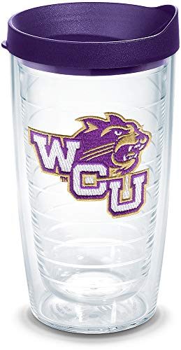 Tervis Western Carolina Catamounts Logo Tumbler with Emblem and Royal Purple Lid 16oz, Clear