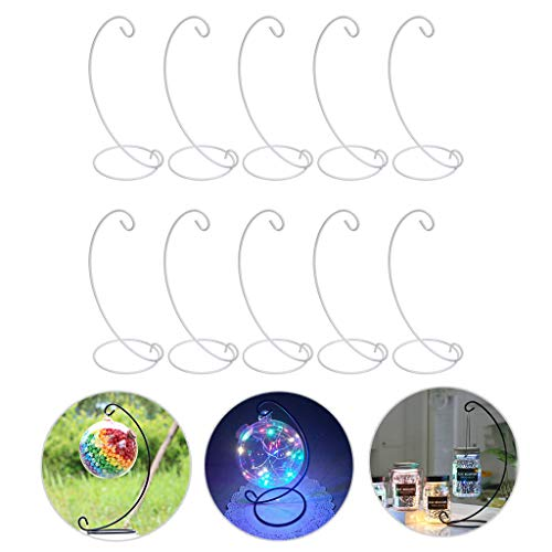 Bstkey - Set di 10 espositori per ornamenti, ganci in ferro, per appendere piante in vetro, terrario, sfere di cristallo, per casa, giardino, ufficio, feste bianco