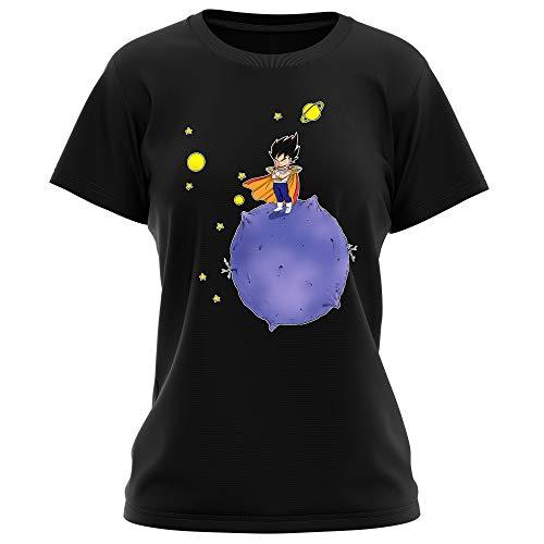 Okiwoki T-Shirt Femme Noir Dragon Ball Z - DBZ parodique Végéta : Le Petit Prince Saiyan (Parodie Dragon Ball Z - DBZ)