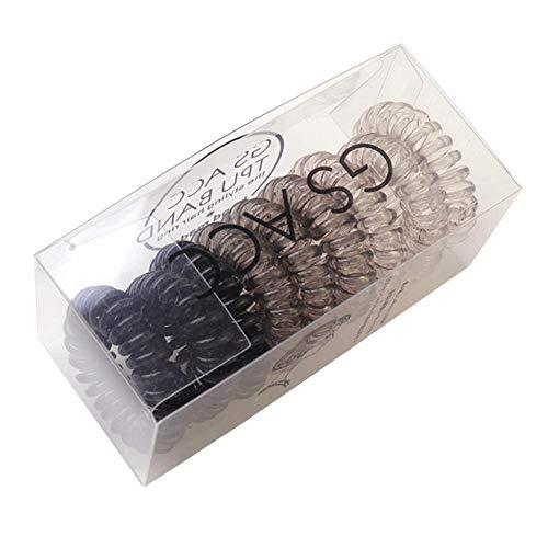 9 PCS Chouchous Elastique à cheveux Qui ne Laisse pas de Traces Prosperveil Accessoire de Coiffeur en Plastique-cable Téléphonique Dégradé Noir