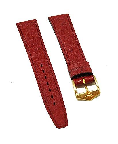 Fortis Leder Uhrenarmband Rot mit roter Naht 14mm gold 8514