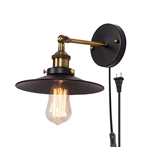 QJY Draaibare wandlamp, eenvoudige 1 lamp, wandlamp, draaibare wandlamp met plug-in snoer voor master-slaapkamer, woonkamer, kamer (kleur: zwart)