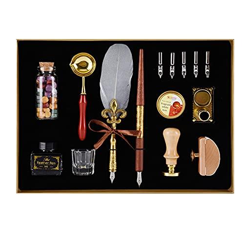 Pluma de pluma hecha a mano con 5 plumas de acero inoxidable en diferentes tamaños, tinta, soporte para bolígrafos, regalo para cumpleaños y Navidad