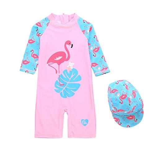 Enfants Combinaison de Natation Fille UPF 50+ UV Maillot de Bain de Plongée Protection avec Bonnet de Bain