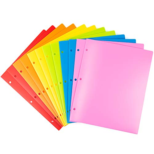 MAKHISTORY Heavy Duty Plastic Folders with 3 Holes - 12 Pack, 2 Pocket Folders Fit 3 Ring Binder, Includes Business Card Slot, Letter Size, Assorted Colors