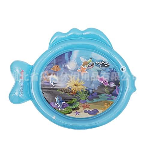 WINBST Estera de agua para bebés, Estera de juego de agua para bebés, libre de BPA, forma de pescado Estera para el tiempo de barriga inflable