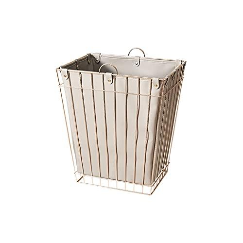 ZHONGTAI Cesta de lavadero de Metal con Bolsa de Almacenamiento de Cuero...