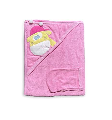 Toalla con capucha con manopla de algodón – con bonito diseño para bebés y niños pequeños   Toalla de baño muy absorbente   Toalla con capucha de rizo (jirafa rosa y rosa, 90 x 65 cm)