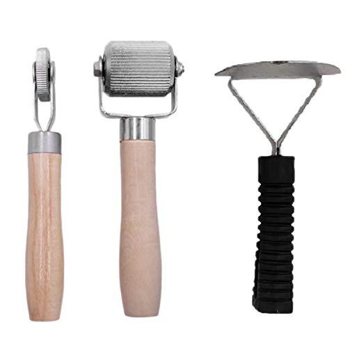 Ctzrzyt Kit de Metal de 3 Piezas Insonorizadas y con Aislamiento TéRmico, Raspador de Silenciador de Coche, Herramienta de Accesorios de Rodillo con Manejar de Madera