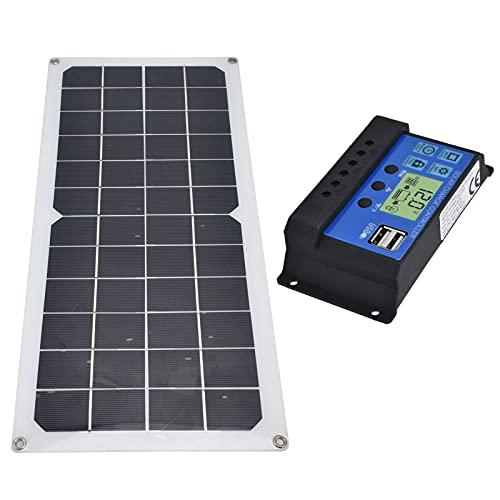 Gedourain Tablero De Carga Solar, Panel Solar Monocristalino De 10W 60A Rango De Aplicación De Alta Eficiencia De Conversión para Senderismo Camping para Montañismo