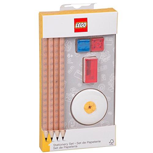 LEGO Un Conjunto de Artículos Escolares (8 Elementos) Bloques Lápices Sacapuntas Borrador