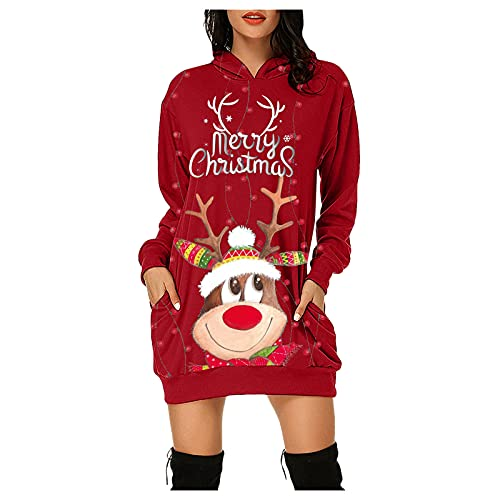 Dasongff Vestido con capucha para mujer, largo, con estampado de muñeco de nieve, para adolescentes, niñas, moda deportiva, Wein1, XXL
