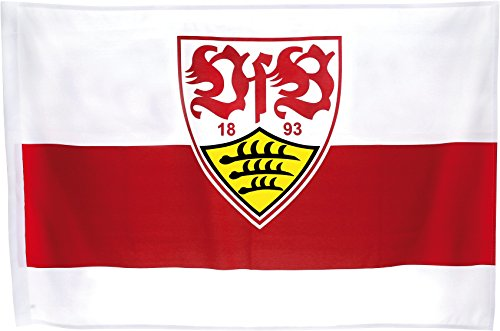 Flaggenfritze Flagge mit Hohlsaum VfB Stuttgart Wappen - 80 x 120 cm + gratis Aufkleber