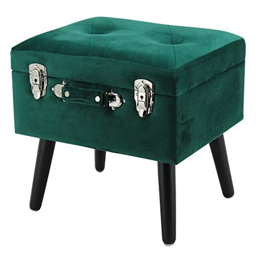 Happy Home Company 12541 Hocker Truhe Samt Polsterhocker Truhenhocker mit Staufach Ottomane im Kofferdesign- dunkelgrün