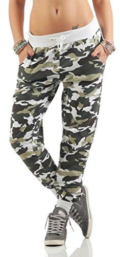 Shirtella 121 Damen Camouflage Militär Hose Sweatpants Jogginghose Baumwolle Freizeithose Sweathose mit Gummibund Weiß