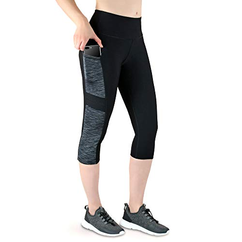 VS Capri Sport Leggings met mobiele telefoon zak - 3 zijvakken 3/4 leggings voor mobiele telefoon, sleutels, creditcard en Co. Fitness Sport Tights zwart patroon yoga broek sportbroek joggen High Waist
