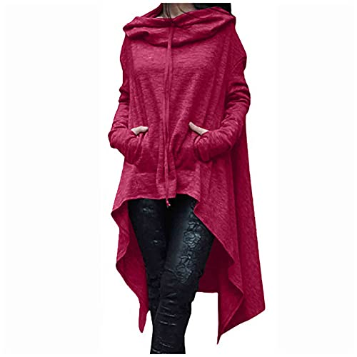 Women Hoodie Sweatshirt High Low Hem Cape Solid Cloak Casual Hooded Tops Pullover Trendy Fall Blouse with Pocket Hot Pink