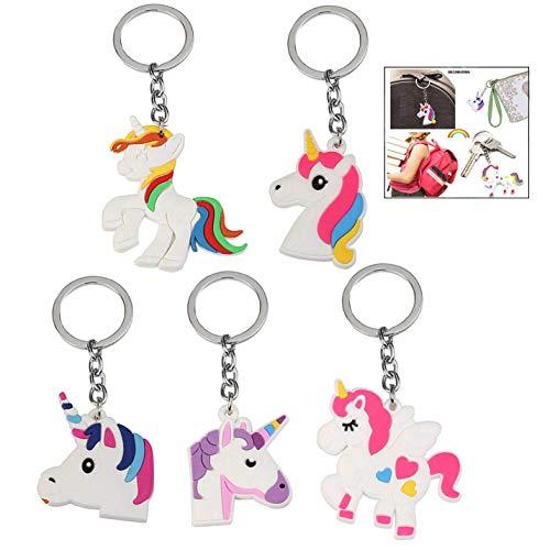 iwobi Unicornio Llavero, 20 Unidades Unicornio Llavero para Niños Rainbow Unicorn Keyring Holder Regalos para Niños y Adultos