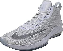 Nike Men's Air Max Infuriate Mid Premium White/Metallic Silver Mid-Top Mesh Basketball Shoe - 10.5M