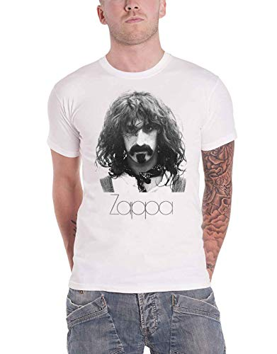 Frank Zappa T Shirt Thin Logo Portrait Nue offiziell Herren Weiß