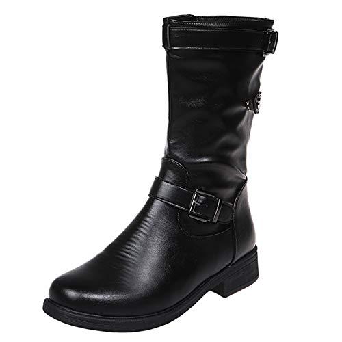 JDGY Botines de tacón alto para mujer, estilo retro, de piel, con cremallera, para mujer, Negro , 38 EU