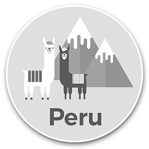 Impresionantes pegatinas de vinilo (juego de 2) 30 cm BW – Perú Viaje Rosa Llama Alpaca Divertidas calcomanías para portátiles, tabletas, equipaje, reserva de chatarras, neveras, regalo genial #37919