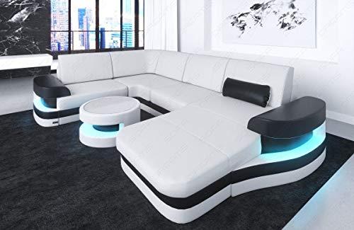 Sofa Wohnlandschaft Modena in Leder auch mit LED Beleuchtung
